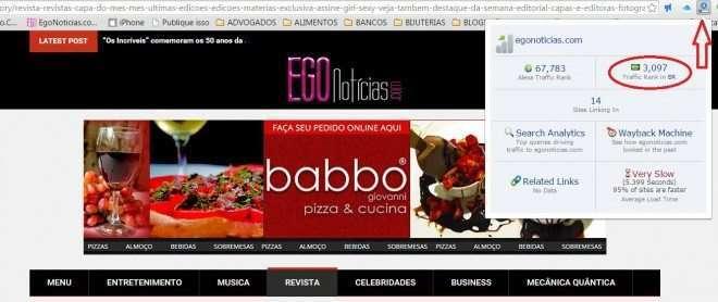 Foto de Ranking do Egonoticias entre os 3.000 sites mais acessados do Brasil