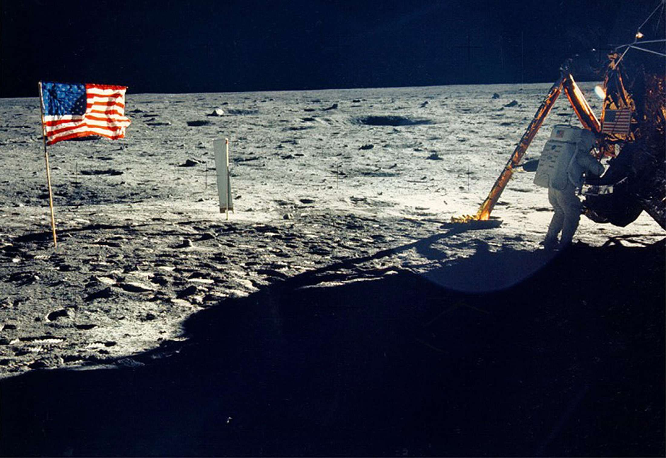 Neil Armstrong works on his space craft on the moon. Photographer: NASA/Hulton Archive
