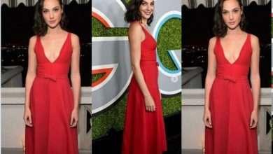 Foto de Gal Gadot faz sucesso com vestido vermelho básico, com estilo delicado e clássico