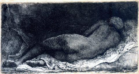 Nu feminino reclinado - Rembrandt H. van Rijn - Coleção Fundação Ema Klabin-Foto divulgação.