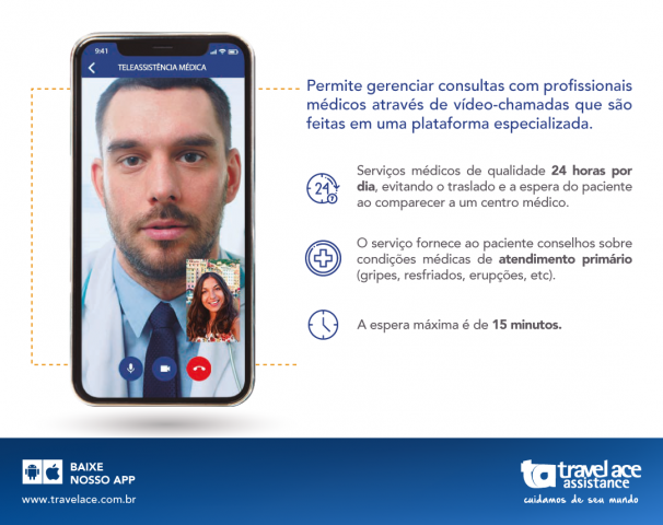 A Travel Ace Assintance, líder em seguro aos viajantes na América Latina, passa a realizar atendimentos médicos através de um serviço inovador: por videochamada.