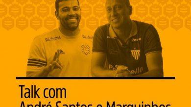 Foto de Marquinhos e André Santos participam de bate papo sobre futebol e empreendedorismo
