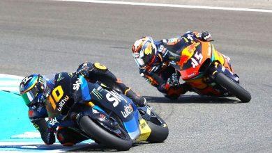 Foto de Moto2 na Espanha o piloto Luca Marini é o vencedor
